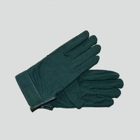 Green flocked Equestrian riding gloves