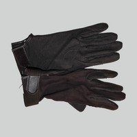 Brown flocked Equestrian riding gloves